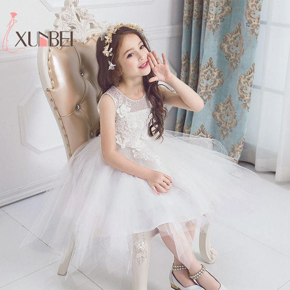 Princess Girls Lace Dresses White Flower Girl Dresses 2018 Tulle Girls Pageant Dresses First Communion Dresses Kids Party Gowns