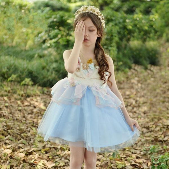 Princess Pink & Blue Unicorn Flower Girl Dress by Pick a Product