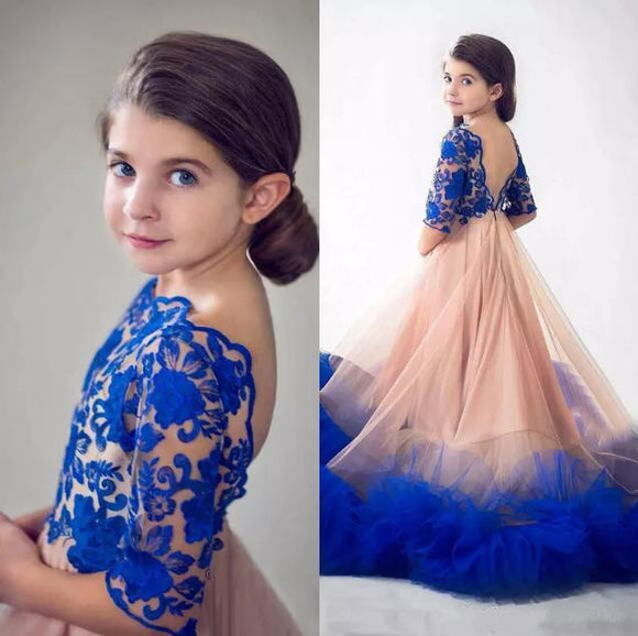 Princess Royal Blue Flower Girls Dress for Weddings