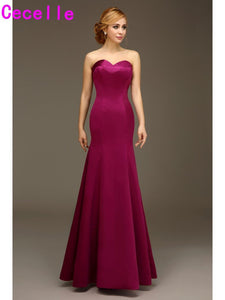 Purpel Long Formal Mermaid Bridesmaid Gowns Sweetheart Satin Wedding Party Dresses Custom Made Winter Bridesmaid Robes Sale
