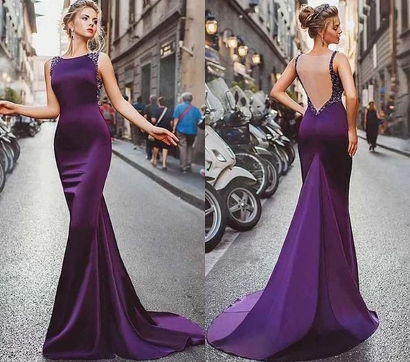 Purple Jewel Mermaid Evening Dress with Sweep Train - little-darling-fashion-online