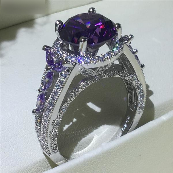 Hollow Flower Silver Purple Zirconia Wedding Ring - little-darling-fashion-online
