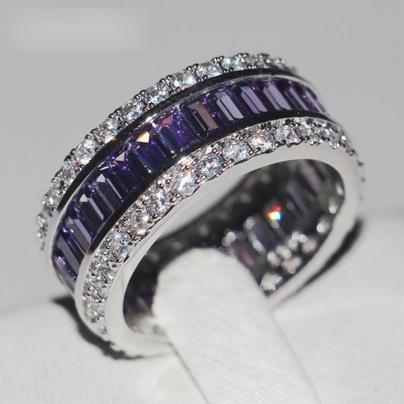 Women's 15ct 5A Purple Zircon Silver Wedding Band - little-darling-fashion-online