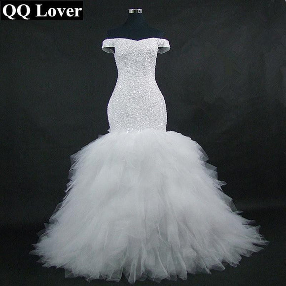 QQ Lover 2018 New Off the Shoulder Mermaid Wedding Dress