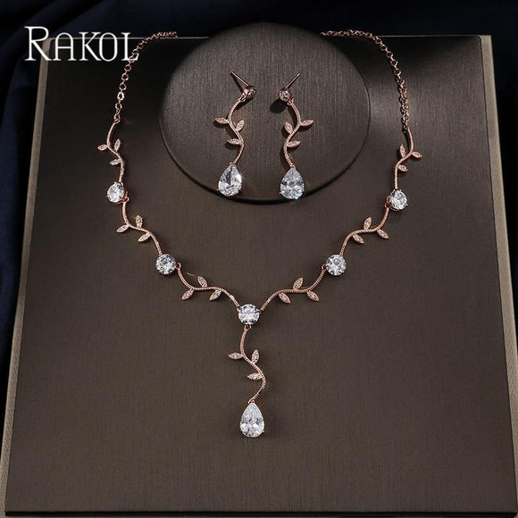 Fashion Zirconia Crystal Leaf Bridal Jewellery Sets - little-darling-fashion-online