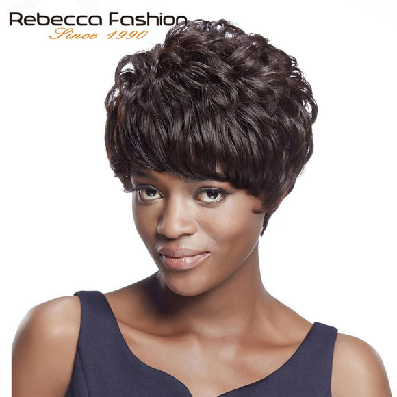 Rebecca Wholesale Price Short Bob Human Hair Wigs For Black Women Machine Made Brazilian Wavy Curly Hair Wig Color 2# Dark Brown