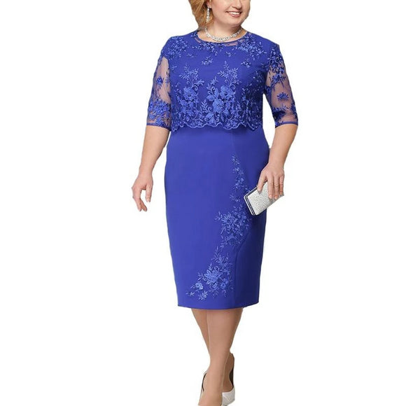 Elegant Lace Plus Size Mother of the Bride Dress - little-darling-fashion-online