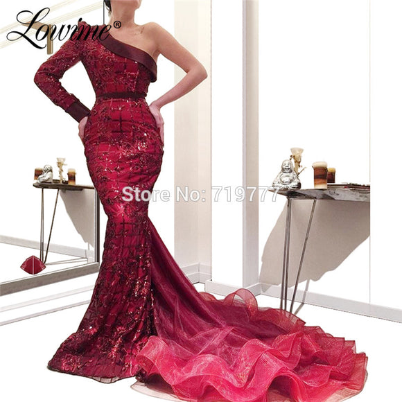 One Shoulder Burgundy Evening Dresses - little-darling-fashion-online
