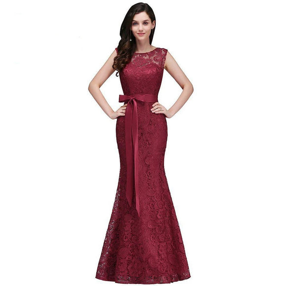 Mermaid Burgundy Lace Bridesmaid Dresses with Sashes - little-darling-fashion-online