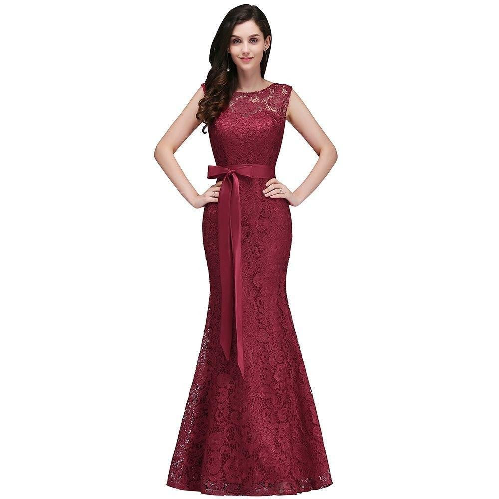 Robe De Fille Dhonneur Mermaid Burgundy Lace Bridesmaid Dresses 2017 Sexy Back Prom Dress Party Gowns With Sash