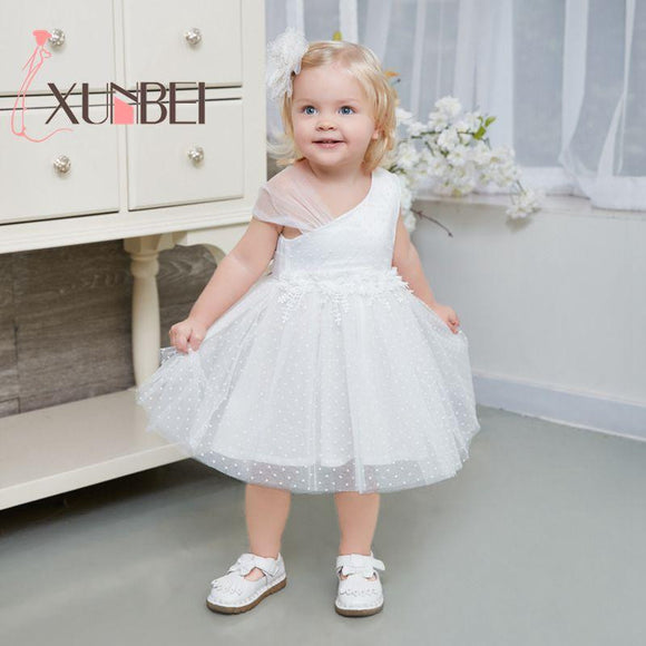Robe mariage enfant White Flower Girl Dresses 2018 Tulle Girls Pageant Dresses First Communion Dresses Kids Evening Party Gown