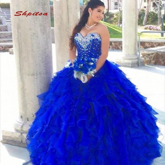 Royal Blue Luxury Crystals Quinceanera Dresses