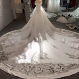 Royal Cut-Out Train Satin Bridal Dresses 2019