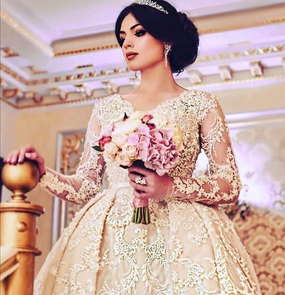 Royal Pretty Lace Puffy Wedding Dress Full Sleeves