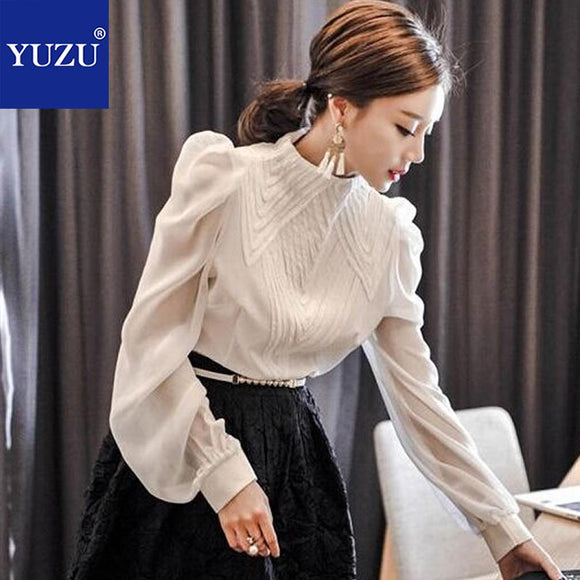 Ruffled Blouses For Women Spring Plus Size White Long Lantern Sleeve Lace Black Blouse And Shirt Office Style Stand Collar Top - little-darling-fashion-online