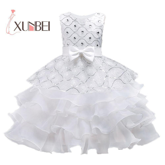 Ruffled Princess Flower Girl Dresses 2018 Beaded Organza Girls Pageant Dresses First Communion Dresses