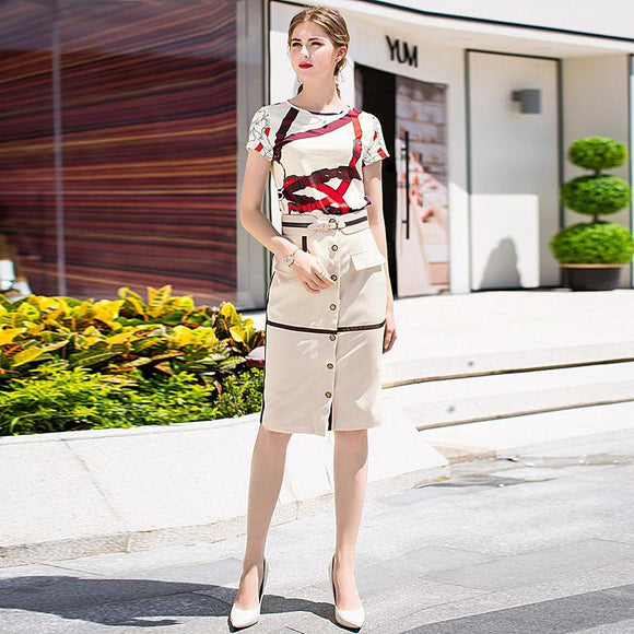 Summer Office Printed Top + Knee-Length Skirt by Pick a Product