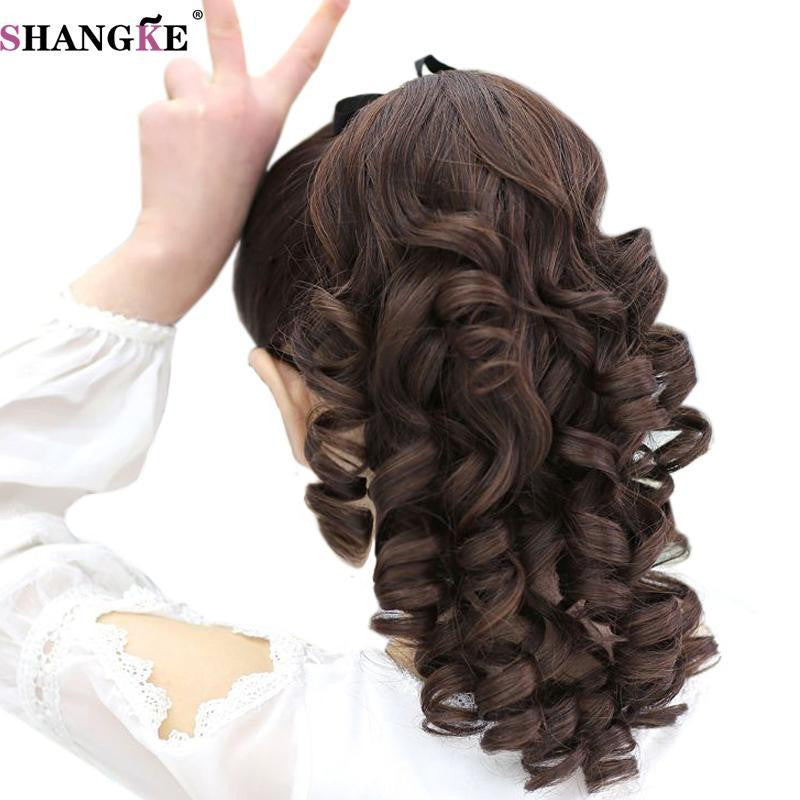 Shangke Short Curly Ponytails Clip In Fake Hair Extensions Natual