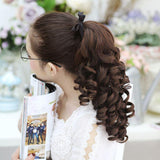 SHANGKE Short Curly Ponytails Clip In Fake Hair Extensions Natual Clip In Hair Tails Heat Resistant Synthetic Ponytail