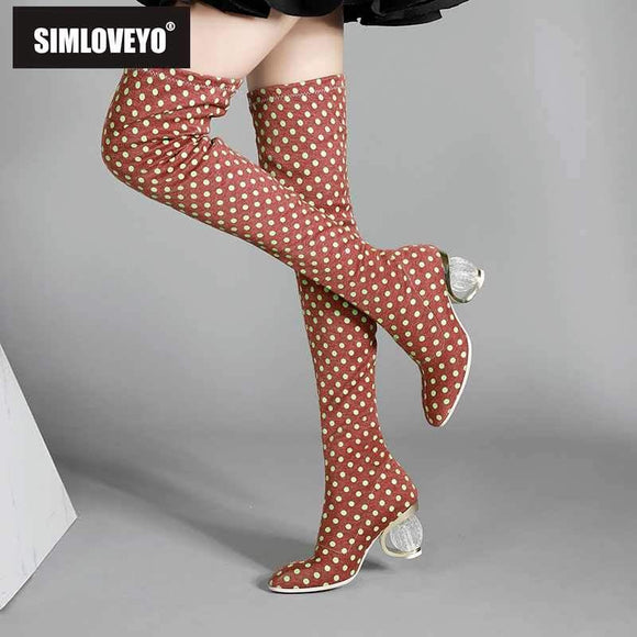 SIMLOVEYO Women Winter Faux Suede Polka Dot Boots by Pick a Product