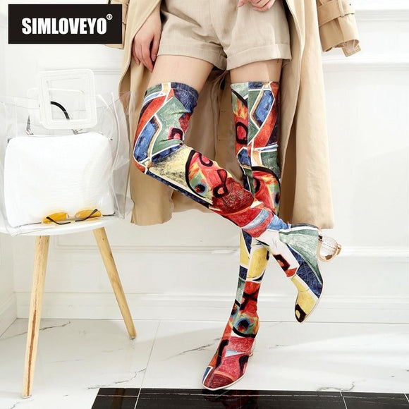 SIMLOVEYO Female Winter Over the Knee/Mid-Calf Boots