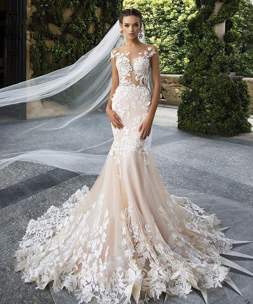 Sexy Backless Mid East Quality Mermaid Wedding Dress Floral Appliques Plus Size Champagne Embroidery Dubai Wedding Dresses