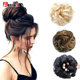Short Curly Tail Chignons Hair Heat Resistant Synthetic Hair Rope Natural Fake Hair Bun Curly Clip In Hair Extensions AOSIWIG