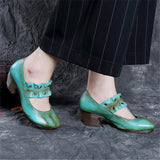Vintage Mary Jane Mid-Heel Genuine Leather Pumps by Pick a Product