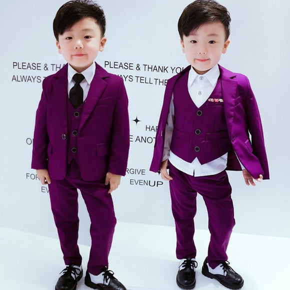 Solid Boys Purple Blazer Suit Jacket+Vest+Pants - little-darling-fashion-online