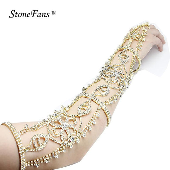 Long Rhinestone Flower Bridal Armlet Chain