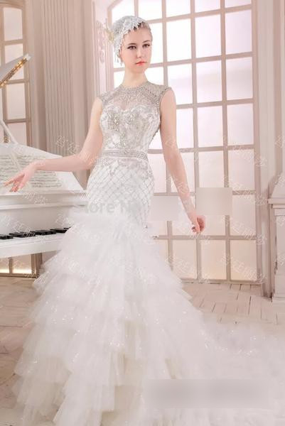 Stunning Vestido de Noiva Ruffles Crystal Bridal Dress - little-darling-fashion-online