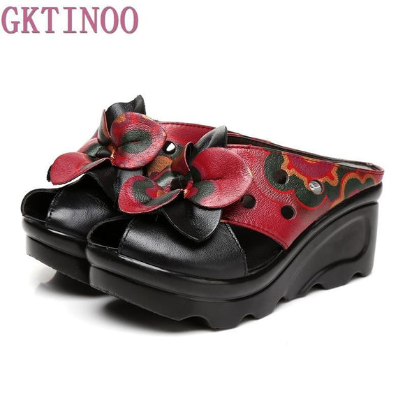 Summer Women Shoes Wedges Slippers Platform Sandals Genuine Leather Handmade Flower Hollow Comfortable Women Slides - little-darling-fashion-online