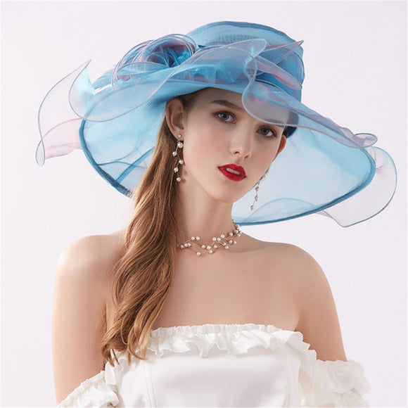 Summer Women's Organza Church Kentucky Derby Hat - little-darling-fashion-online