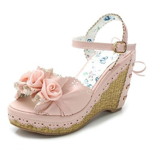 Sweet Pink/White Bow & Flowers Platform Sandals - little-darling-fashion-online