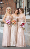 Sweetheart Champagne Sequin Bridesmaid Dress by PickAProduct