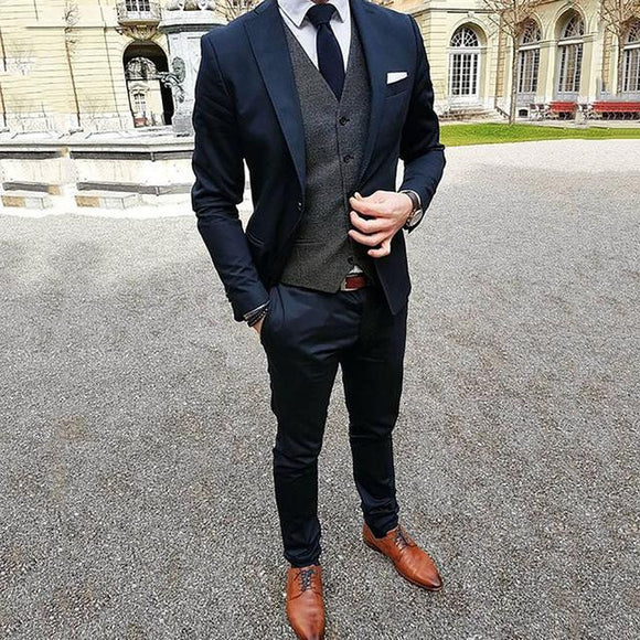 TPSAADE 3 Pieces Mens Suits (Jacket+Pants+Vest) Custom Groom Slim Fit