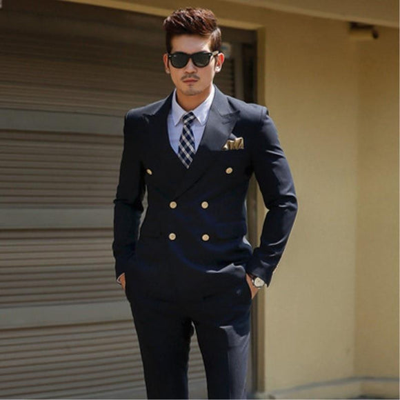 TPSAADE Men's Black Double Breasted Korean Slim Fit Suit
