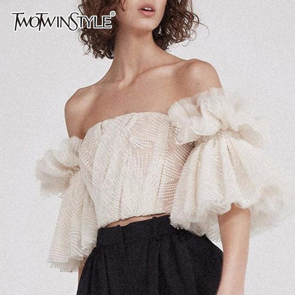 TWOTWINSTYLE Strapless Shirt For Women Off Shoulder Embroidery Ruffles Flare Sleeve Sexy Short Tops Summer Fashion 2018 Clothing