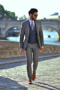The Latest Coat Pant Designs 3 Piece Gray Double Breasted Wedding Suit