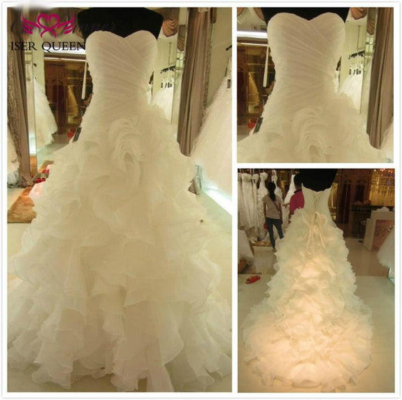 Tiered Skirt Pleat Pure White Mermaid Wedding Dress by Pick a Product
