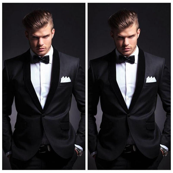 Top Sale Black Custom 2018 Mens Wedding Suits One Button Slim Fitted Grooms Tuxedo Two Pieces Cheap Prom Men Suit(Jacket+Pants)