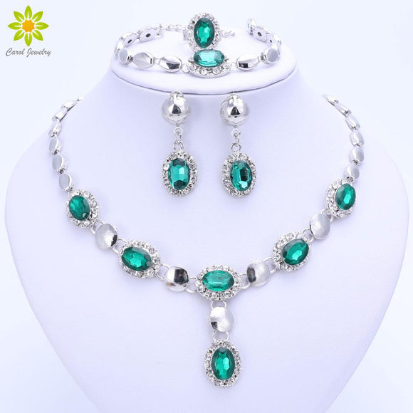 Trendy African Beads Jewelry Sets For Women Crystal Necklace Bracelet
