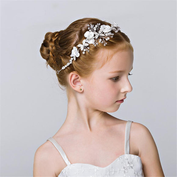 Trendy Silver Pearl Head Headband for Girls - little-darling-fashion-online