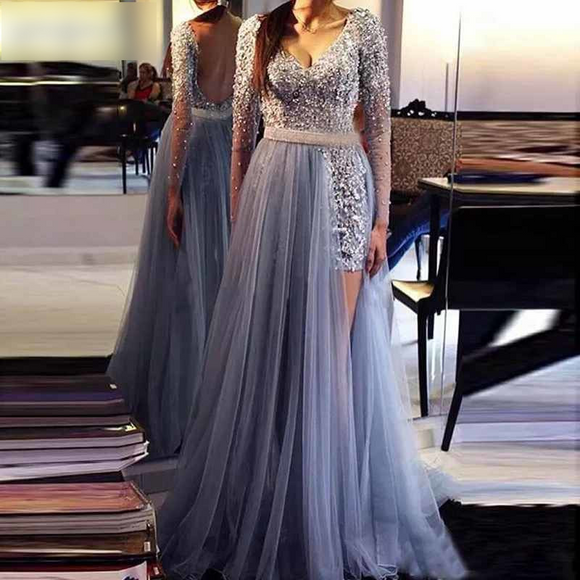 Two-Piece Detachable Train V-Neck Gray Prom Dresses - little-darling-fashion-online