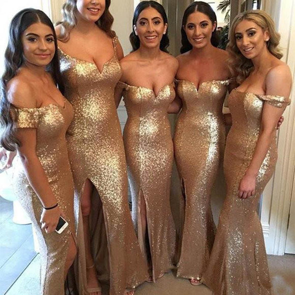 Gold Sequined Off-Shoulder Mermaid Bridesmaid Dress