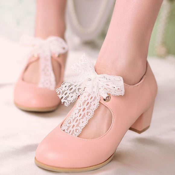 US4-12 Sweet Lace Bowtie Mid-Heel Women's Shoes by Pick a Product