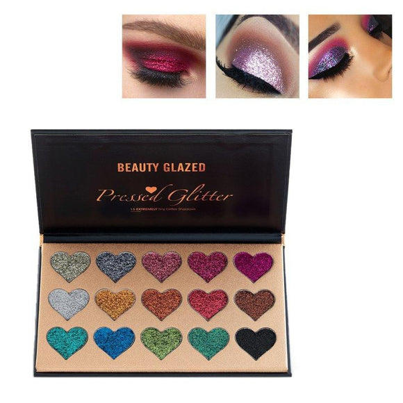 BEAUTY GLAZED 15 Colors Metallic Glitter Eyeshadow - little-darling-fashion-online