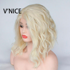 V'NICE Bleach Blonde 613 Color Synthetic Wavy Bob Wig for Women Middle Part Heat Resistant Fiber Short Hair Lace Front Wig - little-darling-fashion-online
