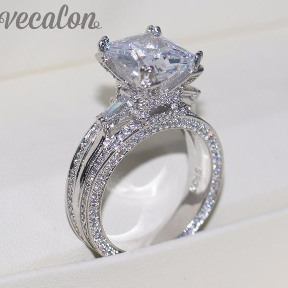 Vecalon Women Big Jewelry ring Princess Cut - little-darling-fashion-online