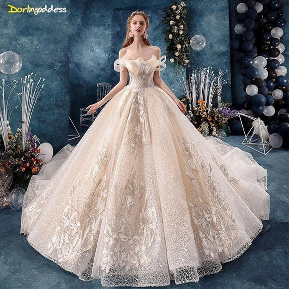 Vestido Luxury Champagne Princess Wedding Dress